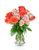 Beautiful bouquet of roses in glass vase