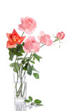 Beautiful bouquet of roses in a glass vase Stock Photos