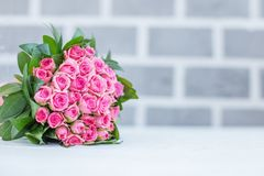 Beautiful bouquet of roses for greetings. Concept Happy Birthday. March 8, Mother`s Day stock images
