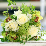 Beautiful bouquet of roses and orchids Stock Photo