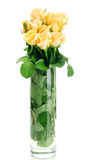 Beautiful bouquet of roses in transparent vase Stock Photo