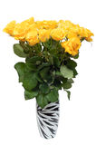 Beautiful bouquet of roses in transparent vase Royalty Free Stock Images