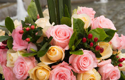 Beautiful bouquet of roses at wedding or event Royalty Free Stock Image