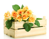Beautiful bouquet of roses in wooden box Royalty Free Stock Photography