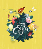 Beautiful bouquet of spring flowers, green leaves and decorated Easter eggs, text handwritten with calligraphic font and. Birdie sitting on top against grungy Royalty Free Stock Photos