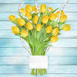 Beautiful bouquet of tulips. EPS 10. Bouquet of beautiful tulips with a card. March 8, valentines day, mothers day. EPS 10 vector file included Stock Illustration