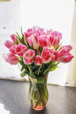 Beautiful bouquet of tulips. Beautiful bouquet of white and red lovely tulips stock photo