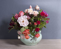 Beautiful bouquet of various roses of different colors stock photography
