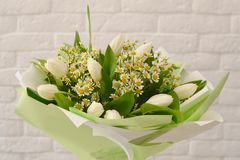 Beautiful bouquet of white flowers. royalty free stock images