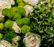 Beautiful bouquet of white roses and green flowers stock photo
