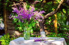 Beautiful bouquet of wild flowers of purple and pink. Bouquet of Stock Images