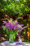 Beautiful bouquet of wild flowers of purple and pink. Bouquet of Stock Photo