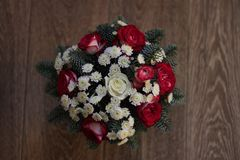 Beautiful bouquet of winter flowers. royalty free stock photo