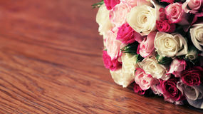 Beautiful bouquet on wood Royalty Free Stock Photo