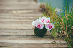 Beautiful bouquet on wooden background. Beautiful bouquet lying on the wooden pier Stock Images