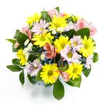 Beautiful bouquet of yellow, pink and blue flowers on a white background as a gift.  Stock Photos