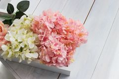 Beautiful bouquet of a yellow and pink dahlias. Delicate flowers, gentle colors. Light pink, light yellow.  Royalty Free Stock Photography