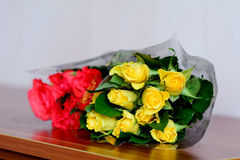 Beautiful bouquet of yellow and red  roses Stock Photo
