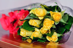 Beautiful bouquet of yellow and red  roses Stock Images