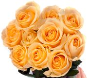 Beautiful bouquet of yellow roses. Isolated on white background Stock Photo