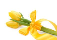 Beautiful bouquet of yellow tulips Royalty Free Stock Photography