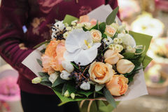 Beautiful bouquet of yellow and white flowers Stock Photo