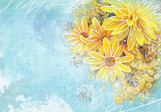 Beautiful bouquet of yellow wildflowers on a grunge blue background. Asters, dahlias, tansy in details. Floral template Stock Photo