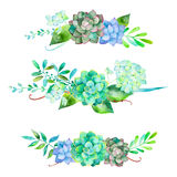 3 beautiful bouquet for your design with hydrangea , leaves, berries and succulents plants Royalty Free Stock Image