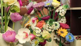 Beautiful bouquets of colorful spring flowers close up.  stock video footage