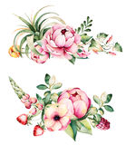 2 beautiful bouquets with flower,peonies,leaves,branches,lupin,air plant,strawberry and more. Colorful floral collection with flower,peonies,leaves,branches Royalty Free Stock Photos
