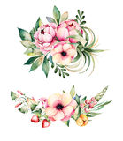2 beautiful bouquets with flower,peonies,leaves,field bindweed,branches,lupin,air plant,strawberry and more stock illustration