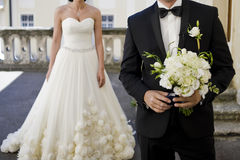 Beautiful bouquets of flowers ready for the big wedding ceremony Royalty Free Stock Images