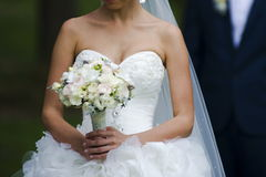 Beautiful bouquets of flowers ready for the big wedding ceremony Royalty Free Stock Image