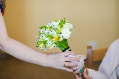 Beautiful bouquets of flowers ready for the big wedding ceremony Stock Photos