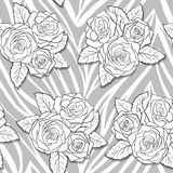 Beautiful bouquets of roses on animal abstract print. Royalty Free Stock Photo