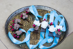 beautiful boutonniere, boutonnieres bridesmaids, groomsmen boutonnieres, flower decorations, small bouquets royalty free stock image