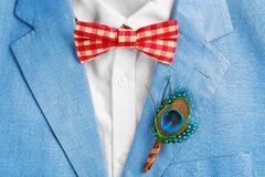 Beautiful boutonniere with feather on suit for groom. Closeup stock images