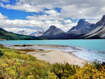 Canadian Rockies, Bow Lake. Beautiful Bow Lake in the Canadian Rockies, Banff National Park. Alberta, Canada stock photo