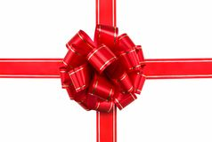 Beautiful bow of red  ribbon. Royalty Free Stock Photo