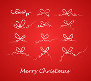Beautiful bow set. Christmas decoration. Vector. Stock Image