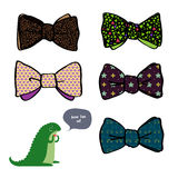 Beautiful bows with different patterns Stock Photos