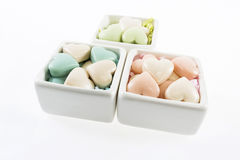 Beautiful  box and soaps as hearts. On a white background Royalty Free Stock Photos