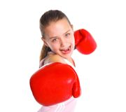 Beautiful boxer-fitness girl Stock Photography