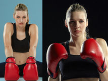 The beautiful boxer girl with the red gloves Stock Photo