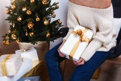 Beautiful boxes with different presents that are being prepared for the christmas night or new year party Royalty Free Stock Photos