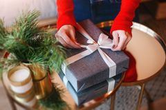 Beautiful boxes with different presents that are being prepared for the christmas night or new year party Royalty Free Stock Images