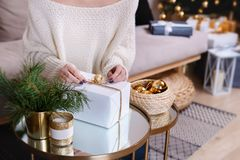 Beautiful boxes with different presents that are being prepared for the christmas night or new year party Stock Photo