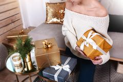 Beautiful boxes with different presents that are being prepared for the christmas night or new year party. Beautiful boxes with different presents that are being Royalty Free Stock Photography
