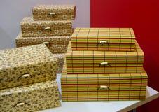 Beautiful boxes in a souvenir shop Stock Photos