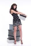 beautiful boxes woman young Fotografering för Bildbyråer
